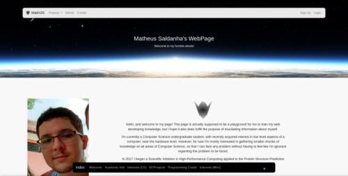 Screenshot of my webpage.